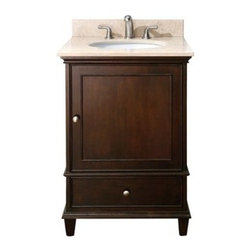 """Avanity - Avanity Windsor 24"""" Vanity with Countertop - Walnut - The Windsor 24"""" vanity in walnut is a beautiful transitional design with classic lines. Constructed of solid poplar wood and veneers, brushed nickel hardware, soft-close drawer guides and hinges. Features: Vanity only in Walnut finish Poplar solid wood and veneer Brushed nickel finished hardware 1 Soft-close door 1 soft-close drawer Adjustable height levelers How to handle your counter View Spec Sheet for vanity View Spec Sheet for Mirror Natural stone like marble and granite, while otherwise durable, are vulnerable to staining from hair dye, ink, tea, coffee, oily materials such as hand cream or milk, and can be etched by acidic substances such as alcohol and soft drinks. Please protect your countertop and/or sink by avoiding contact with these substances. For more information, please review our """"Marble & Granite Care"""" guide."""
