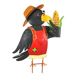 Country Farmer Crow Metal Wall Hanging / Garden Stake - This wonderful hand painted three dimensional metal farmer crow can be used as a wall hanging or a garden stake. Measuring 18 inches tall, 17 inches across and 4 inches deep, the crow has a wall hanger loop on the back, and also comes with an attachable bracket to use it as a garden stake. It has a wonderful distressed finish to give it an aged look. It`ll look great on your wall or in your garden.
