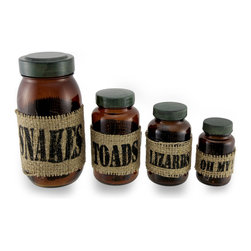 Zeckos - Set of 4 Glass Snakes/Toads/Lizards/Oh My! How Jarring Jars - This set of 4 glass jars is the perfect place to store your magic potion ingredients (or candy and cookies). A brown glass jar for snakes, toads, lizards and oh my featuring printed burlap labels to ensure years of enjoyment measure largest to smallest: 7 inches high by 3.5 inches diameter, 5 inches high by 3 inches diameter, 4.5 inches high by 2.5 inches diameter and 3.5 inches high by 2 inches diameter. They are a must-have addition to your Halloween decor collection, can be displayed year round, and make a magical gift sure to be admired
