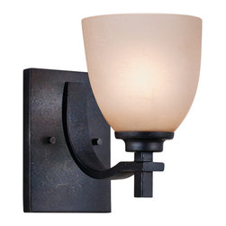 Golden Lighting - Hampden 1-Light Wall Sconce - Light up your life and your hallway with these wall sconces. The hand-painted iron finish of the arms and the contrasting light-colored glass brightens your day and your path with a soft glow.