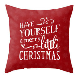 """Christmas Throw Pillow — """"Have Yourself a Merry Little Christmas"""" - This 16x16 throw pillow cover and pillow insert features an original hand-lettered design that says """"Have Yourself a Merry Little Christmas"""" and is the perfect holiday accent to your home. The design is printed on both sides of the pillow cover. The red texture has very subtle snowflakes and is the perfect pop of color for the season."""