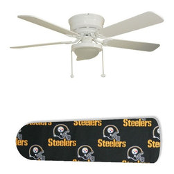"""Pittsburgh Steelers 52"""" Ceiling Fan with Lamp - This is a brand new 52-inch 5-blade ceiling fan with a dome light kit and designer blades and will be shipped in original box. It is white with a flushmount design and is adjustable for downrods if needed. This fan features 3-speed reversible airflow for energy efficiency all year long. Comes with Light kit and complete installation/assembly instructions. The blades are easy to clean using a damp-not wet cloth. The design is on one side only/opposite side is bleached oak. Made using environmentally friendly, non-toxic products. This is not a licensed product, but is made with fully licensed products. Note: Fan comes with custom blades only."""