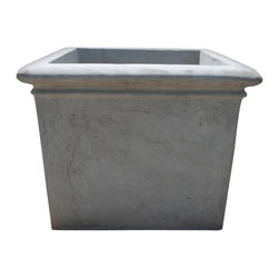 Concrete Square Rolled Rim - 18''w x 15''h x 18''d