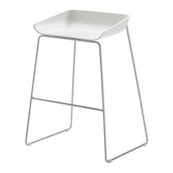 Turnstone - Scoop Stool - The Turnstone Scoop Stool stays out of the way visually, with a durable plastic seat shaped like a coal shovel and steel frame base. Ships fully assembled. Base has plastic floor protecting glides.