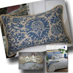 """Ralph Lauren Damask Linen Decorative Pillow - 15"""" x 21"""" Ralph Lauren Damask fabric pillow trimmed  with natural jute cording. Custom/other sizes available upon request. Insert included."""