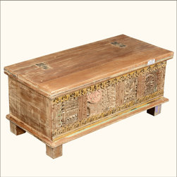 Rustic Reclaimed Wood New Delhi Hand Carved Storage Trunk Chest - Enhance your home with the delicate artistry of hand carved wood with our New Delhi Standing Trunk Chest.