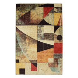 Mohawk Home - Mohawk New Wave Magician Multi Contemporary Geometric 5' x 8' Rug (11335) - The essence of modern art is brought to your home with this abstract area rug. Soothing neutral shades and bold hues work together to create a contemporary masterpiece of floor covering.  Printed on the same machines that manufacture one of the world