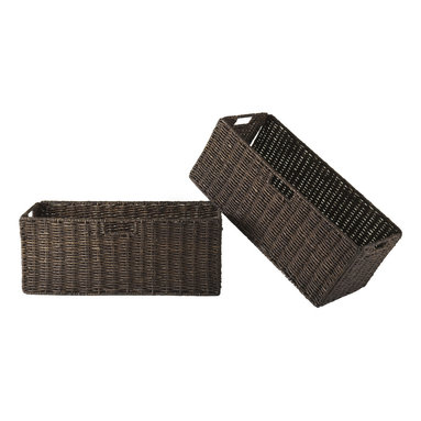 """Winsomewood - Granville Foldable 2-Piece Large Corn Husk Baskets, Chocolate - Granville Set of 2 Large Foldable Baskets is made of Corn Husk in chocolate color. Baskets open size is 22.83""""W x 10.24""""D x 9.06""""H and folded is 31.69"""" x 9.45"""" x 1.97-2.36"""" thick."""