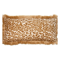 Squarefeathers - Exotic, Brown Cheetah Pillow - The Exotic Collection is perfect for a large room with multiple furniture pieces. The brown tone color scheme is neutral for open areas. Made of cotton and rayon with natural jute fringe trim. It has a soft and pump feataher/down insert inclosed with a zipper. Like all of our products, this pillow is handmade, made to order exclusively in our studio right here in the USA.