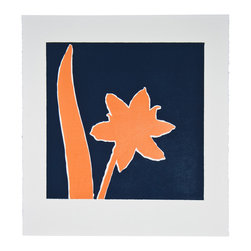 Salmon Armeria - Original Linocut Print - The contrast of salmon with deep blue is wonderful and feels both playful and traditional. Linocut artwork from this series is available in various colors and sizes.
