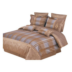 Bed Linens - Madison 7-Piece Duvet Cover Set, King, Taupe - Impressions Collection, Madison Duvet Cover Set brings a vibrant look to your bedroom'sdecor. Duvet Cover features multicolor layered stripes.