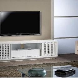 "Furnitech 82"" Contemporary High Gloss White Lacquer TV Stand Media Console - The Furnitech 82"" contemporary lacquer TV stand media console is a high gloss white finish that has a 4 solid wood slatted sliding doors that conceal 4 equipment compartments. It has 2 storage drawers with ¾ extension ball bearing metal glides featuring removable ventilated back panels and internal wire management. It also contains a recessed plinth base that adds a solid foundation to this versatile TV console."