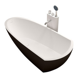 Matte Black Stand-Alone Resin Bathtub