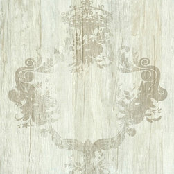 Walls Republic - Serenity Taupe Wallpaper R1369, double roll - Serenity is a faux finish wood pattern with an overlaid distressed damask pattern. This wallpaper is a fusion ofcontemporary and traditional with the perfect touch of elegance for any living room.
