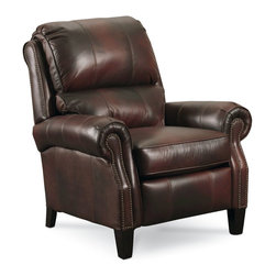 Lane Furniture - Hogan High Legleather Recliner - Dark Brown - The Lane Hogan 2671 High-Leg Recliner combines the look of a classically styled stationary chair with the comfort of a recliner. This classic pub back chair features elegant tapered Merlot finish legs, nail head trim, leather upholstery, and shapely rolled arms. Individually pocketed seat coils conform to body contours for the ultimate in comfort. The Hogan brings a sense of tradition and style to any space while offering plenty of comfort.