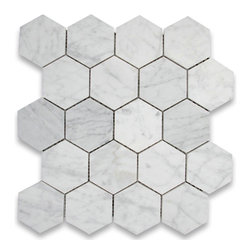 "Stone Center Corp - Carrara Marble Hexagon Mosaic Tile 3 inch Polished - Carrara white marble 3"" (from point to point) hexagon pieces mounted on a sturdy mesh tile sheet"