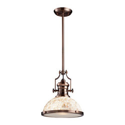 Chadwick One-Light Pendant Antique Copper and Cappa Shell