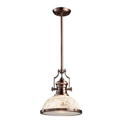 Landmark Lighting - Chadwick One-Light Pendant Antique Copper and Cappa Shell - - The Chadwick collection reflects the beauty of hand-turned craftsmanship inspired by early 20th century lighting and antiques that have surpassed the test of time. This robust collection features detailing appropriate for classic or transitional decors. White glass compliments the various finish options including polished nickel, satin nickel, and antique copper. Amber glass enriches the oiled bronze finish.  - Antique Copper  - Cappa Shell Landmark Lighting - 66443-1