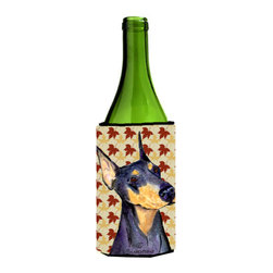 Caroline's Treasures - Doberman Fall Leaves Portrait Wine Bottle Koozie Hugger SS4361LITERK - Doberman Fall Leaves Portrait Wine Bottle Koozie Hugger SS4361LITERK Fits 750 ml. wine or other beverage bottles. Fits 24 oz. cans or pint bottles. Great collapsible koozie for large cans of beer, Energy Drinks or large Iced Tea beverages. Great to keep track of your beverage and add a bit of flair to a gathering. Wash the hugger in your washing machine. Design will not come off.