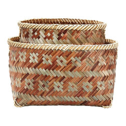 Lazy Susan - Lazy Susan Set of 2 Woven Brown Sage Tonal Baskets - Made from natural hand dyed bamboo; nested set of 2; handcrafted