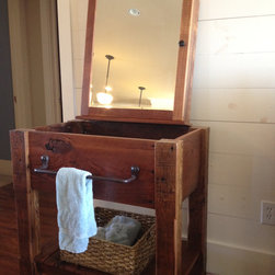 Rustic Vanities and Bathroom Accessories - Beautiful  mirrored medicine cabinet made from reclaimed wood.