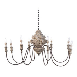 Kathy Kuo Home - Ravel French Country Carved Wood 8 Light Chandelier - Like an exotic octopus, this elegant, eight-light chandelier has graceful, curving outstretched arms. An intricately-sculpted wood relic serves as the centerpiece for flowing antique brass arms and gilded fixtures.