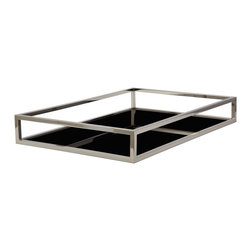 Lazy Susan - Lazy Susan 225065 Black Box Rod Tray - Rectangular - Items that tend to go missing should definitely be kept safely displayed in a black box. Unlike the mysterious black boxes that are locked on the inside, this nickel-plated iron tray displays your important belongings in the most see-through of ways. Perfect for a contemporary atmosphere, it's the Mysterious Stranger of decor.