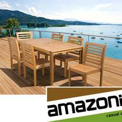 Amazonia - 'Amelia' Eucalyptus Wood 7-piece Outdoor Dining Set - Enjoy your patio with elegance all year round with this wonderful piece from our Amazonia Casual Design collection. The patio furniture is suitable to be left outdoors all year round with proper maintenance.