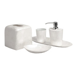 Six Piece Square Ivory Capiz Bathroom Set - Smooth corners and mod-inspired transitional designs are at home in any setting, especially when the Square Ivory Capiz Six-Piece Bathroom Set's finish of foil-bright, ice-pale capiz shell is allowed to shine bright, clean, and novel against the backdrop of your bath.  Layered with the sustainably-collected, translucent shells in a finish that isn't quite smooth and thus gives an organic sparkle to the shell-thin, curved accessories.