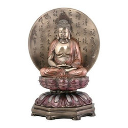 YTC Summit 10.25H in. Medicine Buddha - Eye-popping and artfully colored in a mix of bronze, pink, and more, this YTC Summit 10.25 in. Medicine Buddha sculpture is sure to stand out from the rest. Medicine Buddha is shown here meditating against a circular bronze background that is detailed with vertical Chinese language engraving. Constructed from best quality resin, the sculpture is rendered in an elegant Eastern style and features a convenient and intricately designed flat base. Perfect for desks and tabletops.