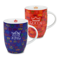 Konitz - Set of 2 Royal Family Mugs - King and Queen - Dream of being a monarch? Appoint yourself as King or Queen with this Royal Mug set. With its crown design, this mug set is perfect for the heads of the household.