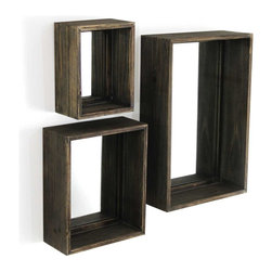 Vertuu Design - Cavan Mirror (Set of 3) - Give your walls a rustic update using this set of Cavan Mirrors in three different sizes. Featuring shadow box frames in distressed wood, these three rectangular mirrors can also be used to display small vases or decorative items. Hang the mirrors individually or group them for a unique, layered effect.