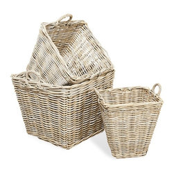 Interlude - Anglais Square Baskets - In a fresh gray wash finish the large Anglais Square Baskets marry functionality and style.