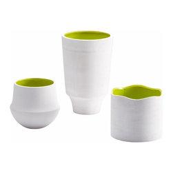 White and Green Scallop Havilland Vase - *Havilland Vase