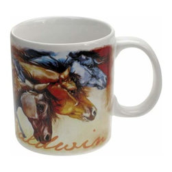 WL - White Ceramic 14 Oz Mug with Three Powerful Stallions Horse Design - This gorgeous White Ceramic 14 Oz Mug with Three Powerful Stallions Horse Design has the finest details and highest quality you will find anywhere! White Ceramic 14 Oz Mug with Three Powerful Stallions Horse Design is truly remarkable.