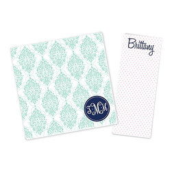Ann Page - Mint & Pink Chandelier Personalized Notepad Set - This colorfully designed pair of notepads is useful for jotting down recipes, lists, reminders and other notes around the home or office. One can be personalized with your name, and the other with a stylish monogram.   Includes two notepads Enter monogram as follows: first initial, last initial, middle initial. For example, Katie Beth Smith should be entered as ''KSB'' Small: 3'' W x 8'' H Large: 8'' W x 8'' H Paper Made in the USA