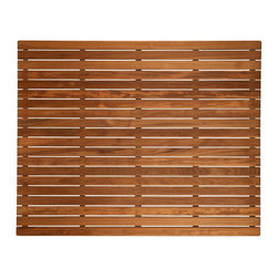 "Teakworks4u - Plantation Teak Shower/Bath Mat, 36"" X 30"" - Naturally mold and mildew proof due to its high oil content, this bath mat will serve you in style for years to come. The inherent beauty of teak is sure to complement your bathroom accessories and create a perfect decorative accent. Naturally high silica content makes this piece incredibly slip resistant. Crafted with quality wood, countersunk screws and rubber footing to protect your floors, this teak mat is nothing short of an investment. Proudly made in the U.S.A."