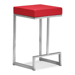 ZUO MODERN - Darwen Counter Chair Red (set of 2) - Made from 100% stainless steel and a plush leatherette seat, the Darwen is the perfect mix of comfort and sophistication.
