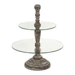 iMax - iMax Glover Round 2-Tier Cake Stand X-09368 - The Glover cake stand has two round tier surfaces surrounding a turned wood finial and base. A great server for petit fours or hors d'oeuvres.