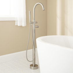 Algos Thermostatic Freestanding Tub Faucet - Boasting a lovely arching gooseneck head, the Algos Freestanding Tub Faucet beautifully completes a tub installation.