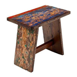 "Pre-owned Aye Captain Reclaimed Wood Stool - As a footstool, a seat around a low table, or a boost to reach those high cupboards in the kitchen, the Aye Captain Stool does your bidding faithfully. The reclaimed wood has just a hint of paint from its glory days in fishing vessels.    Benefits:    The Aye Captain Stool is handmade from the wood of tropical fishing boats and iron from yesterday's bridges. Our pieces, large and small, are playful, due to the color and weathering inherent in each boat we buy; sophisticated by nature of our in-house design team, and made to last a lifetime: We use only the highest-quality fishing-boat teak.    Care, cleaning and technical information:  Highly durable marine grade wood is perfect for both indoor and outdoor use. We have treated this item with a water based organic semi-gloss finish therefore cleaning is very simple.  Low in harmful VOC's (volatile organic compounds) it is comparable to oil-based varnish for its high resistance to abrasion, water and solvents. This item cleans up easily with soap and water. As it cures, the molecules become cross linked in a lattice-like pattern that is much more durable than the single-strand bonds formed by conventional water-based finishes. This makes it a good choice for high-wear interior applications such as tabletops. It will have a very slight shine to it.     Number of pieces included: 1    Additional Dimensions:   Seat Height 18""    Color: Wood is a natural material that varies in color, grain pattern and over-all appearance and texture. While our product images are intended to represent a wide spectrum of a materials and meant to display various characteristics, they do not show all variations. Each piece has its own individual characteristics; no item is exactly the same although we do keep the colors schemes consistent. The wood grain and coloring do vary slightly."