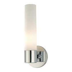 George Kovacs - Bath Art Chrome One-Light Bath with Case Etched Opal Glass - -Bulb not included.  -Hardwired  - Glass dimensions: Diameter: 2.5-inches; Height: 9 5/8-inches George Kovacs - P5041-077