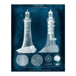 Lighthouse Blueprint Crackle Giclee - Modern Silver Leaf - Technical drawings have a particular drama of intellect and geometry, a feature which makes them perfect for study spaces and for homes with a transitional taste for ephemera with solidity - and a feature exemplified by the Lighthouse Blueprint Crackle Giclee. Fine cross-hatch shading on the deep blue background lends architectural depth to the piece.