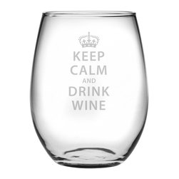 Susquehanna Glass - Keep Calm & Drink Wine Stemless Wine Glass, 21oz, S/4 - Each 21 ounce stemless tumbler features a sand etched wine-themed design. Dishwasher safe. Sold as a set of four. Made and decorated in the USA.