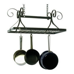 "Enclume - Enclume Decor Rectangle Pot Rack - Hammered Steel - Dimensions: 24""L x 15""W x 18""HMounts on 14"" CentersIncludes:    Grid with 4 grid brackets    Hooks: 12    Comes fully assembled."
