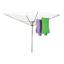 Household Essentials 1600 12-Line Outdoor Umbrella Clothesline - Love the smell of naturally dried clothes? Love saving money and reducing energy use at the same time? We do. That's why we chose the Household Essentials 12-Line Outdoor Umbrella Clothesline which features 165 feet of drying space and 12 lines for clothes. An aluminum upper structure and heavy-duty steel pole make this an easy-to-assemble sturdy outdoor drying option. Plus it folds for easy storage when not in use and opens and closes with a single action. Household Essentials gives you the most environment-safe wallet-friendly clothes drying option available. Reduce your global footprint while helping put Mother Nature back on track.