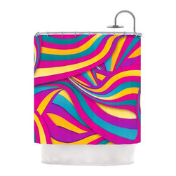 """Kess InHouse - Danny Ivan """"Swirls Everywhere"""" Pink Teal Shower Curtain - Finally waterproof artwork for the bathroom, otherwise known as our limited edition Kess InHouse shower curtain. This shower curtain is so artistic and inventive, you'd better get used to dropping the soap. We're so lucky to have so many wonderful artists that you'll probably want to order more than one and switch them every season. You're sure to impress your guests with your bathroom gallery in addition to your loveable shower singing."""