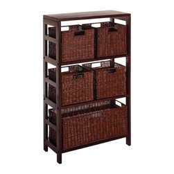 Winsome - Winsome Leo 6-Piece Set - 2-Shelf Wood Bookcase and 4 Small and 1 Large Baskets - Shop for Caddies and Stands from Hayneedle.com! Admit it - when you're trying to fit everything in its place the shelves can get a little cluttered. Manage storage beautifully with the Leo 6 Piece Shelf and Baskets - 4 Small and 1 Large Baskets ideal for laundry rooms the bedroom and the bathroom. Five removable woven storage baskets store linens clothing and other sundries of every size; simply place bulkier items in the large basket. Grab and tote them easily thanks to built-in handles as well. They fit snugly into a wood solid and veneer shelf and the three-shelf design is easily accessible without being a room hog. The deep espresso finish is contemporary enough to hold its own in modern homes while rich texture and clean design stand impressive ground in traditional schemes too. Assembly is required; 30-day warranty included.Basket DimensionsSmall baskets: 11W x 10D x 9H inchesLarge basket: 23W x 10D x 9H inchesAbout Winsome TradingWinsome Trading has been a manufacturer and distributor of quality products for the home for over 30 years. Specializing in furniture crafted of solid wood Winsome also crafts unique furniture using wrought iron aluminum steel marble and glass. Winsome's home office is located in Woodinville Washington. The company has its own product design and development team offering continuous innovation.