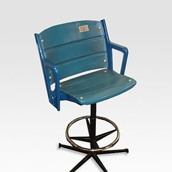 Authentic Yankee Stadium Seat/Bar Stool - Own a piece of baseball history with this original chair from the old Yankee Stadium. I like the weathered look that would be a nice juxtaposition in a more modern room.