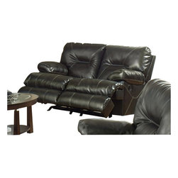 Catnapper - Catnapper Cortez Rocking Reclining Loveseat in Dark Brown Bonded Leather - Catnapper - Loveseats - 42922120029300029 - This highly functional Rocking Reclining Love Seat from Cortez Collection by Catnapper is upholstered in dark brown, extremely durable bonded leather cover. This wonderful Cortez Collection features dramatic accent stitching and manual reclining mechanism. Matching chaise glider recliner is available as an option. This collection also comes in red. Great color and design of this collection make it fit in any decor!